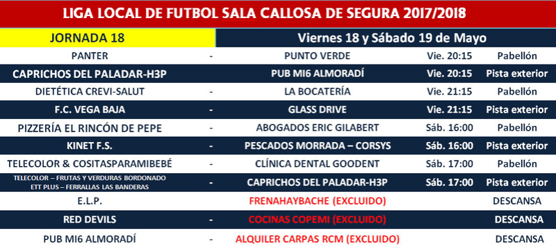 Horario Jornada 18 - Liga Regular 17/18 Horari26