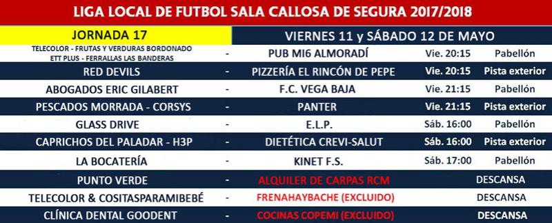 Horario Jornada 17 - Liga Regular 17/18 Jornad49