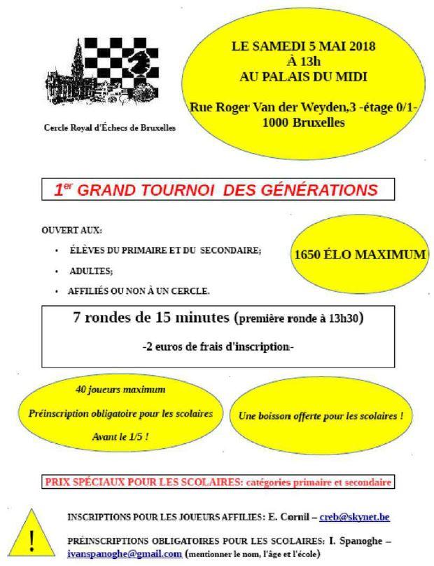 [CREB] 5 mai à 13h30 : Tournoi des Générations Genera10