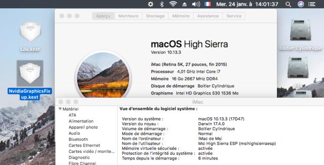 Fix Intel HD 530 Sierra 10.12. et 10.13 Captur72