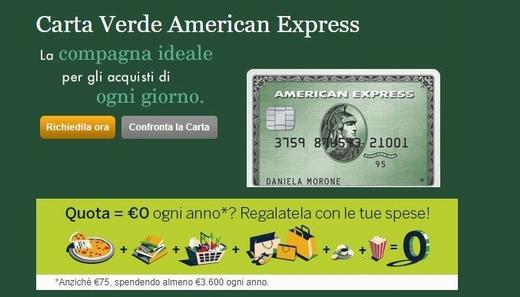 CARTA VERDE AMERICAN EXPRESS regala QUOTA GRATUITA OGNI ANNO per sempre se la utilizzi per € 3.600 all'anno [promozione scaduta il 10/05/2018] Cattur11