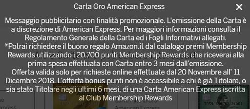 CARTA ORO AMERICAN EXPRESS regala BUONO AMAZON € 80 [promozione scaduta l'11/12/2018] Cattur11