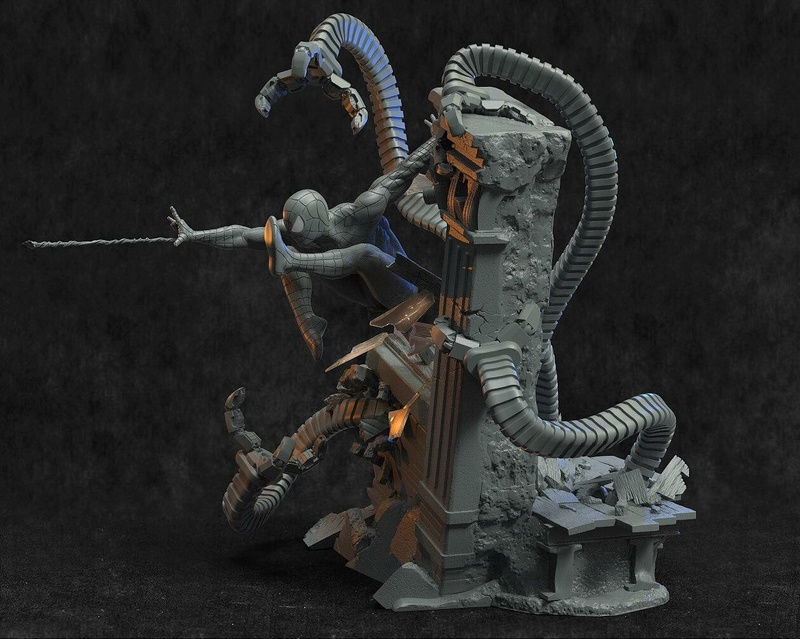 Mac Custom Statue - Diorama Spider-Man Vs Doc Octopus B9da3010