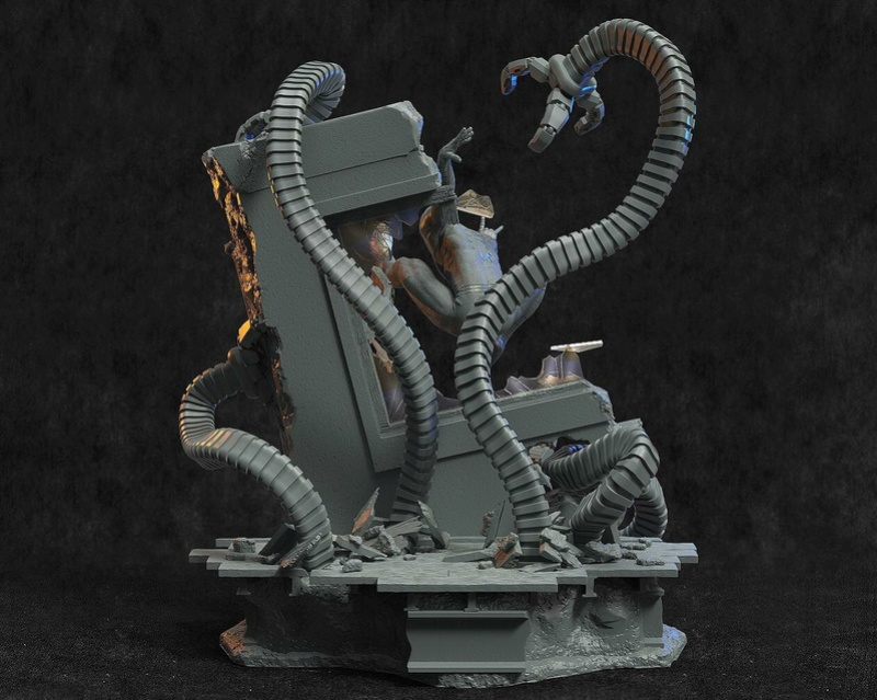 Mac Custom Statue - Diorama Spider-Man Vs Doc Octopus C4047a10