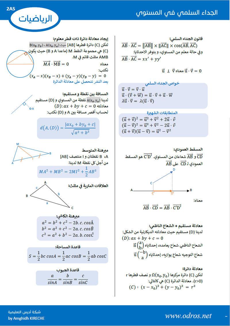 ملخص شامل للجداء السلمي - السنة ثانية ثانوي - شعبة علوم تجريبية + رياضيات + تقني رياضي Y_ooa10