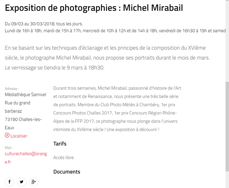 Michel Mirabail - Photographies - du 9 au 30 mars 2018 à Challes les Eaux Annonc10