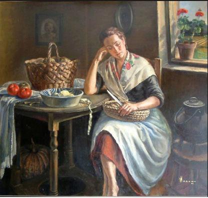 Pensando en su hijo, - óleo de Vicente Maeso- Sin_ty10