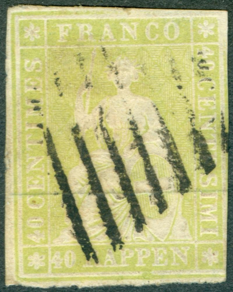 """Schweiz 1854-1863 """"Strubel"""" Sitzende Helvetia Ungezähnt 26_aa_10"""