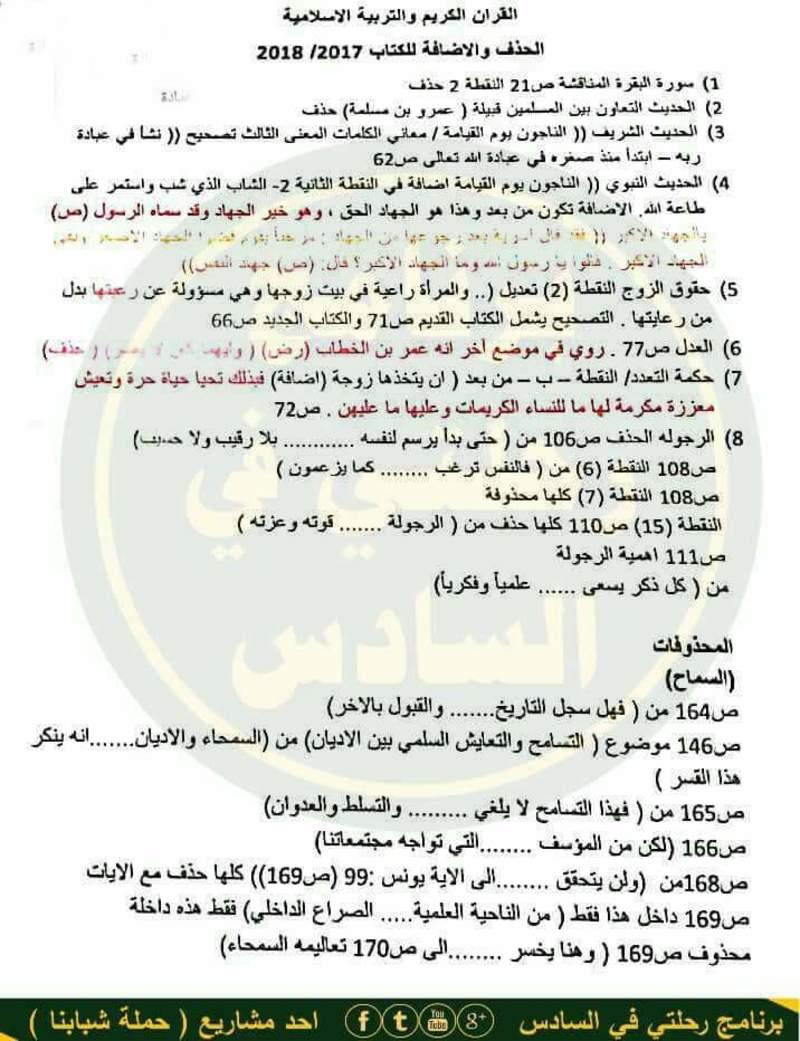 الحذف والاضافة لمادة القران الكريم والتربية الاسلامية للسادس الاعدادي 2018 110