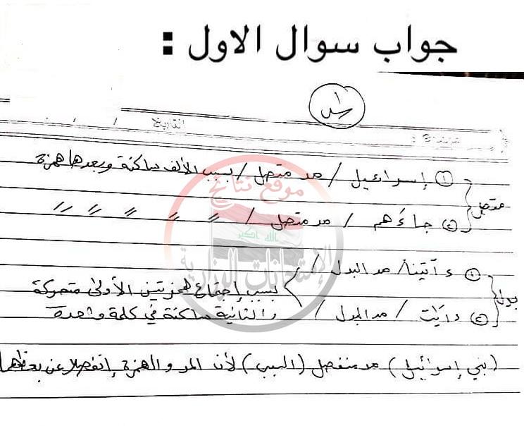 اجابة امتحان التربية الاسلامية النموذجية للثالث المتوسط 2018 دور اول  114