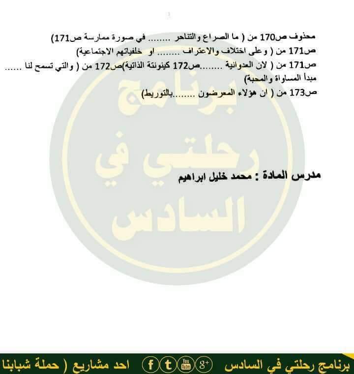 الحذف والاضافة لمادة القران الكريم والتربية الاسلامية للسادس الاعدادي 2018 210
