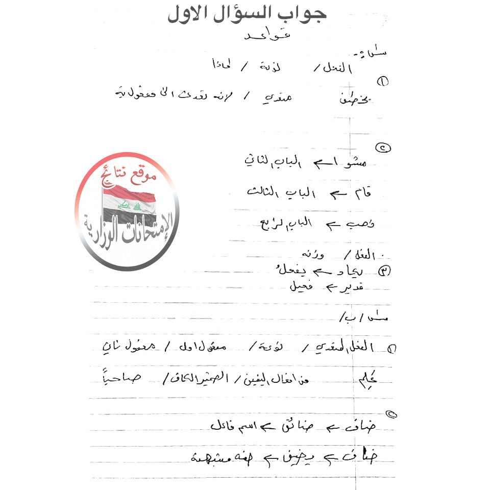 اجابات امتحان اللغة العربية للصف الثالث المتوسط 2018 214
