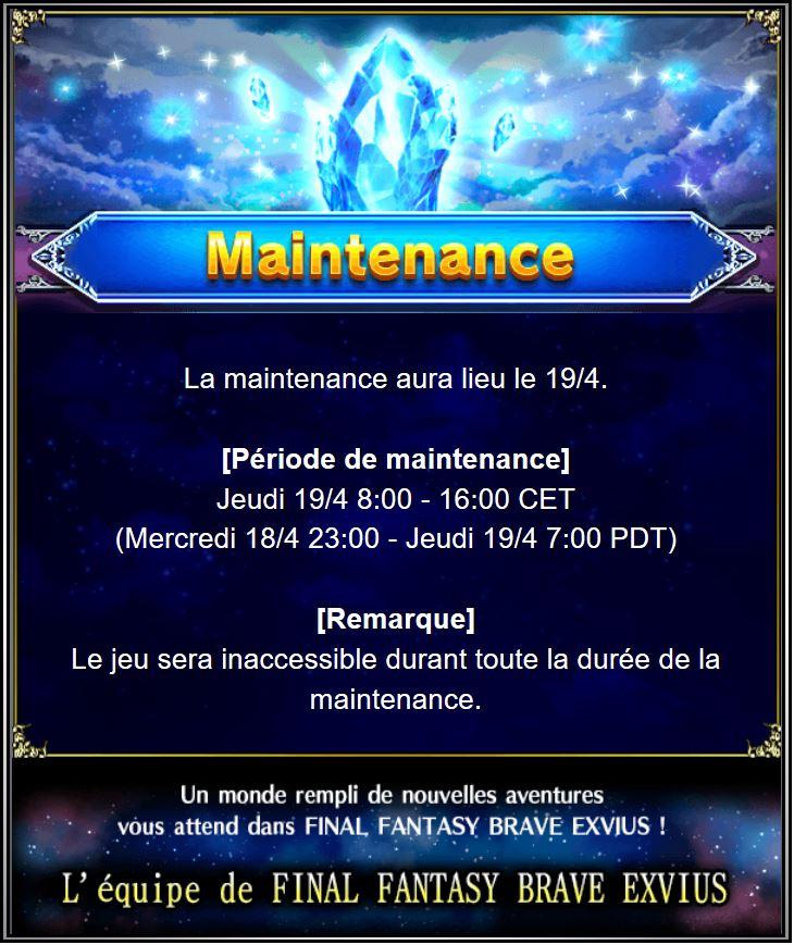Maintenance19/04 de 8H à 16H Captur59