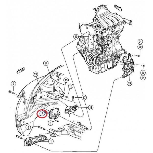 Accessibilité support moteur central sur PT 2.2 CRD de 2005 Suppor10