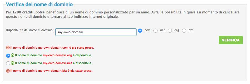 Personalizza il tuo nome di dominio Scherm72