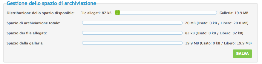 Funzionamento dello spazio di archiviazione Scherm76