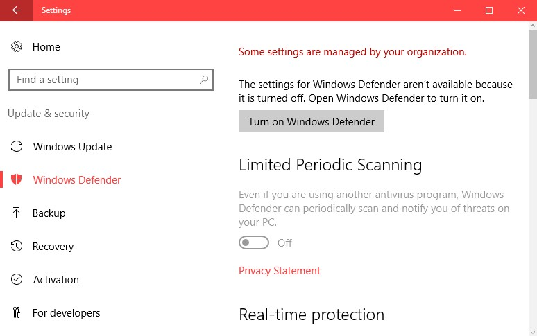 Two ways of disabling Windows Defender under Windows 10. Screen17