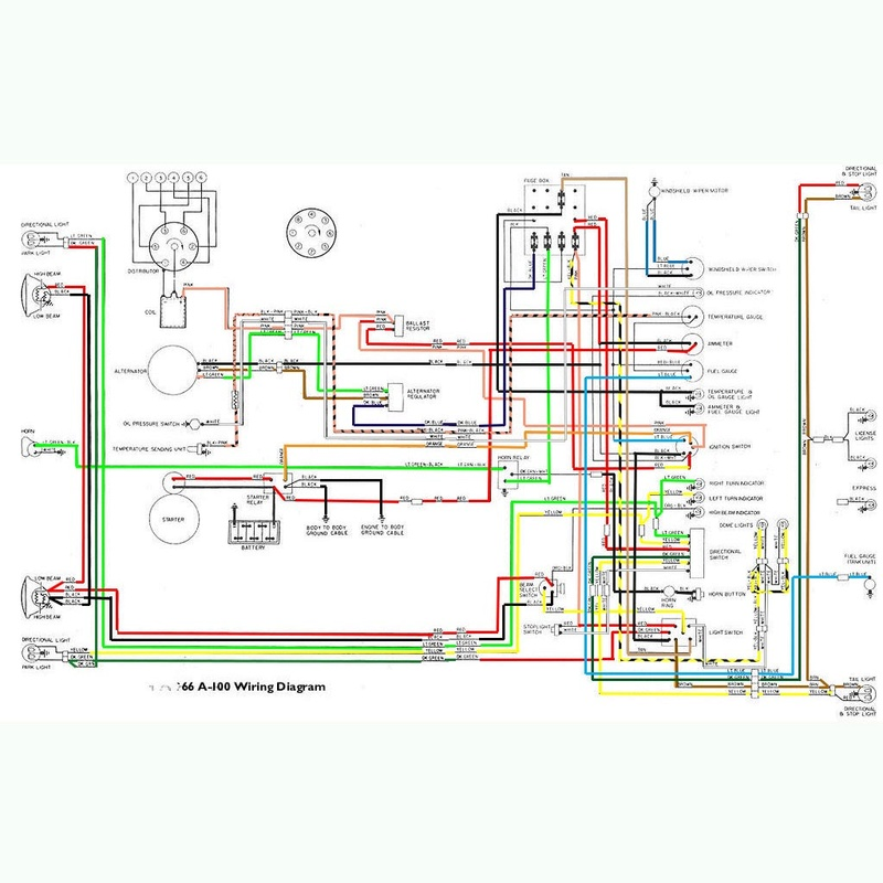 Colored wiring diagram for A100 1966 66_a1011