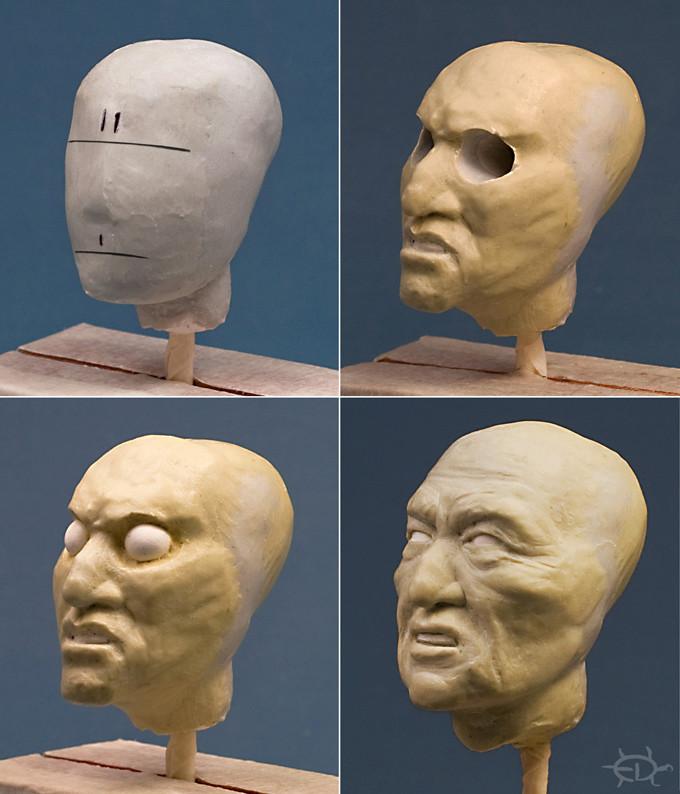 Buste-portrait de vieux chef de guerre Delaware (Sculpture) Edan_210