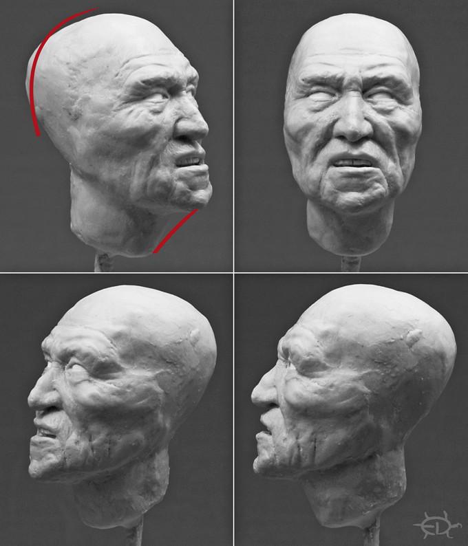 Buste-portrait de vieux chef de guerre Delaware (Sculpture) Edan_410