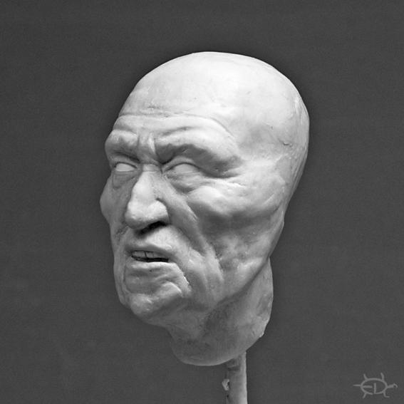 Buste-portrait de vieux chef de guerre Delaware (Sculpture) Edan_610