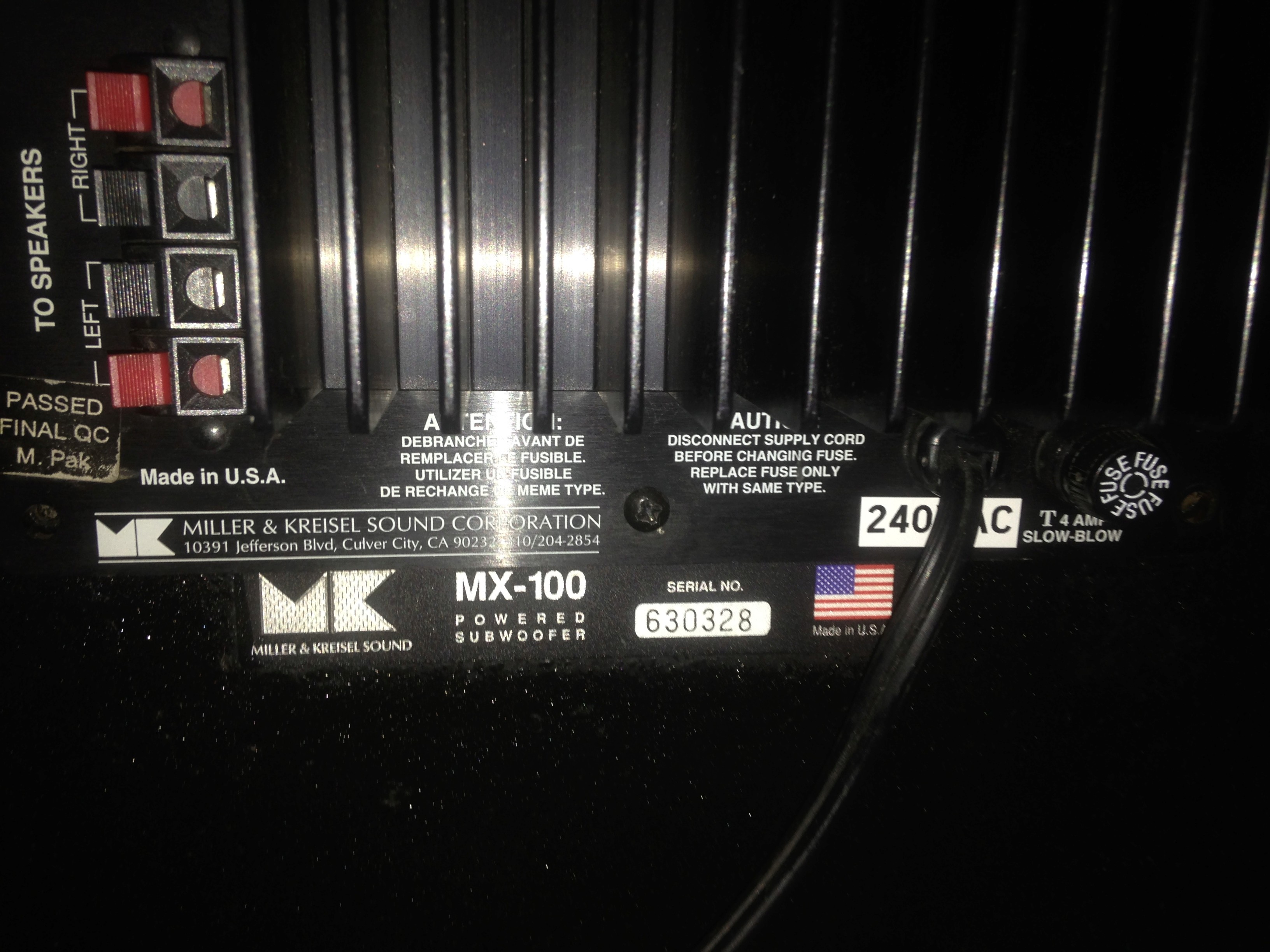 "M&K MX-100 Dual 12"" inch THX Powered Subwoofer(USA) Img_5836"