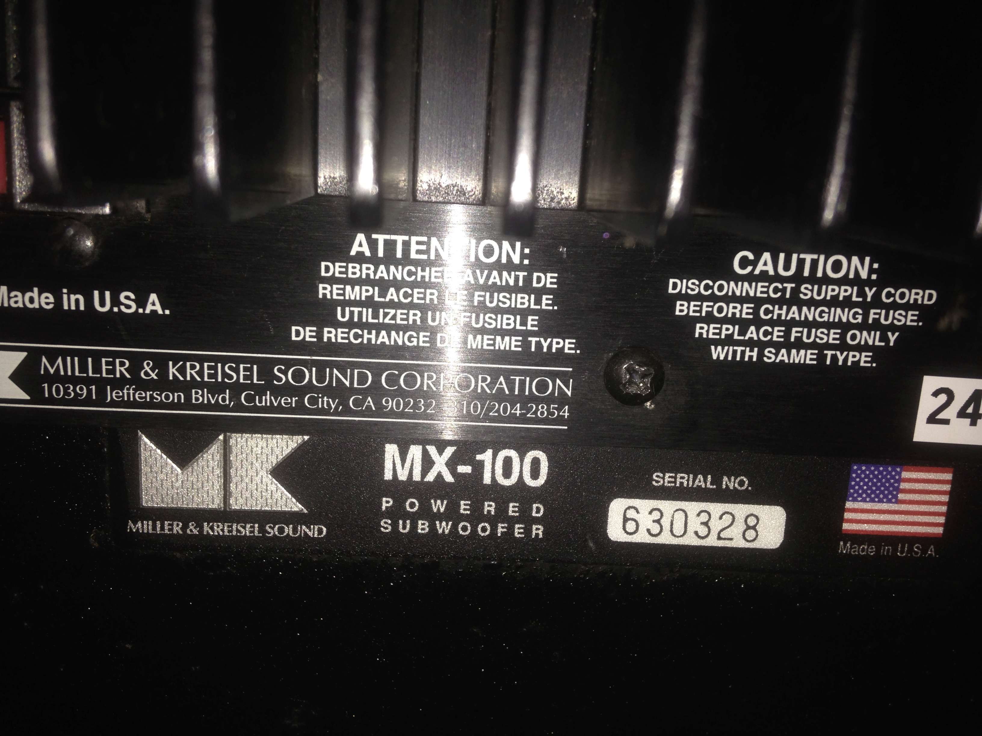 "M&K MX-100 Dual 12"" inch THX Powered Subwoofer(USA) Img_5839"