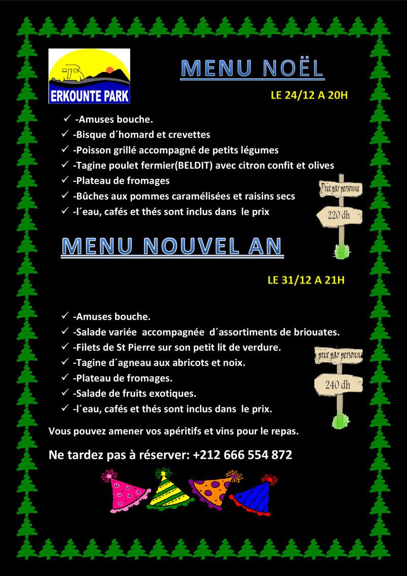 [Maroc Camp/Dernières nouvelles]Menus de fêtes de fin d'année à Erkounte Park   Menu-n11