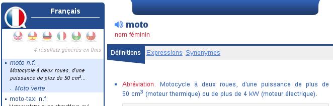 Moto (nom féminin) Moto10
