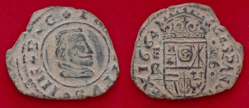 16 maravedis de Felipe IV, 1664 segovia, falsa de época. 210
