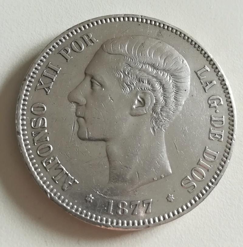 5 pesetas 1877 (*18*77). Alfonso XII. Madrid DE M Img_2056