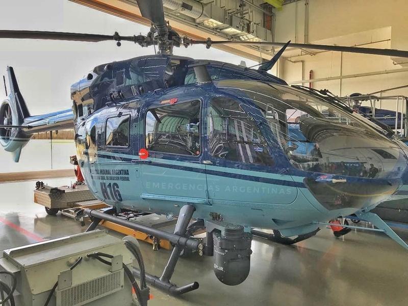 El nuevo EC145 de la Policía Federal Argentina se encuentra realizando pruebas de vuelo en Alemania. Dasqc-10