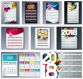 تقويم السنة الجديدة 2018 [Vectors_calendar_2018_template] Iuao_o10