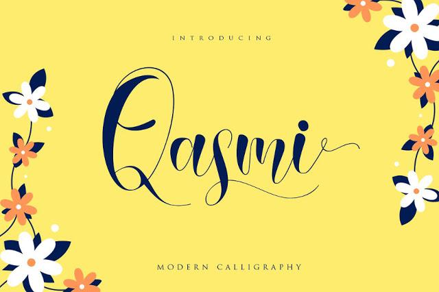 خط انجليزي حر . Qasmi Script Font Qasmi-10