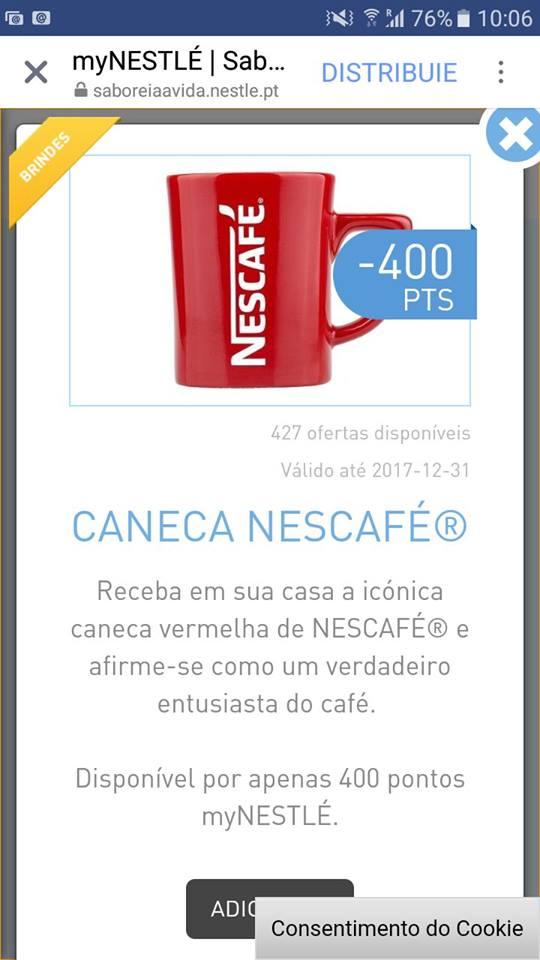 Amostras Nestlé - Caneca NESCAFÉ(troca de pontos) 22490110