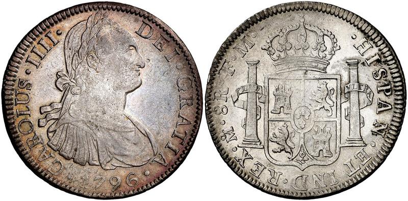 8 Reales 1796. Carlos IV. México ¿Error/Repinte? 46292310