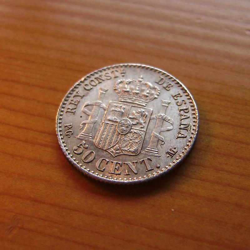 50 Céntimos 1892 (*2-2). Alfonso XIII. Variante estrellas  Sany4327