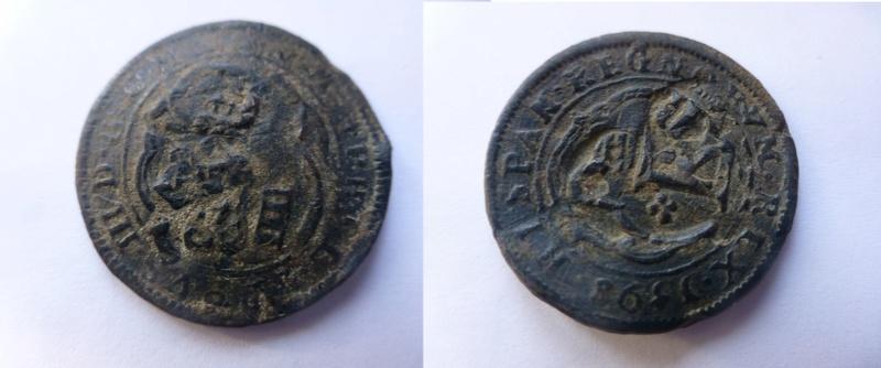 4 Maravedís de Felipe III, acuñados a molino en Segovia en 1598. Resellados P1060410