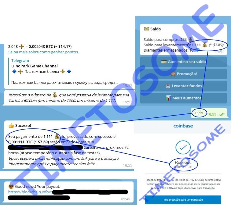 OPORTUNIDADE [Risco-Provado] Dino Park Game e outros Bots - Telegram - WindowsPC/Android/iOS - Paga por Bitcoin  Dinofi10