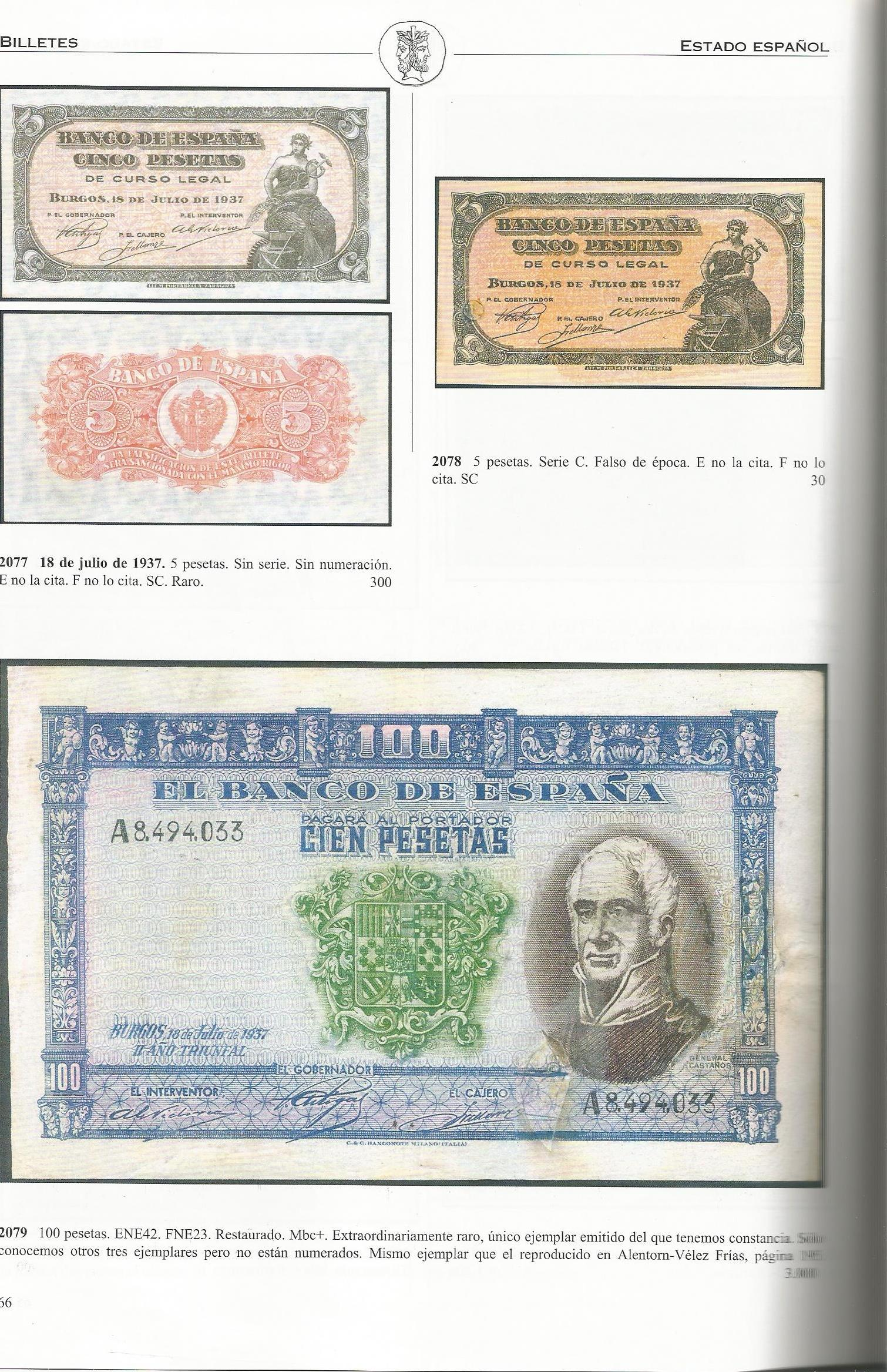 100 Pesetas 1937 (General Castaños) Castay10