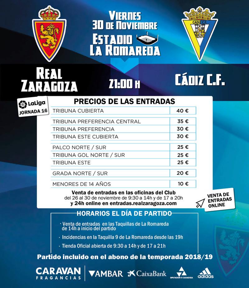 [J16] R. Zaragoza - Cádiz C.F. - Viernes 30/11/2018 21:00 h. Cartel16