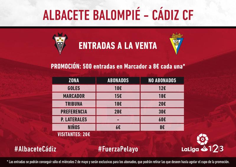 [J38] Albacete B. - Cádiz C.F. - Domingo 06/05/2018 18:00 h. Precio12
