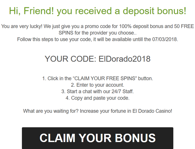 Eldorado Casino 100 Free Spins and 150% up to 300 EUR Eldora11