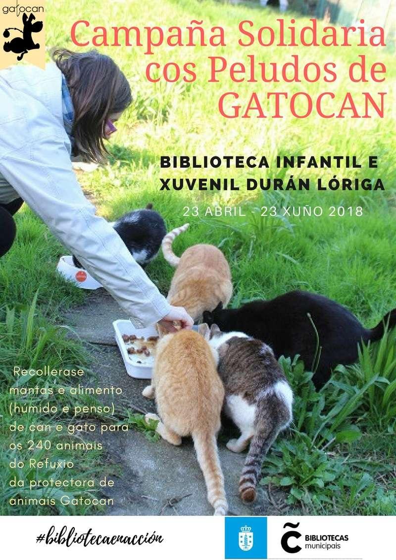 Campaña informativa y recogida de alimentos para los peludos de Gatocan en la Biblioteca Duran Loriga de A Coruña Cartel18