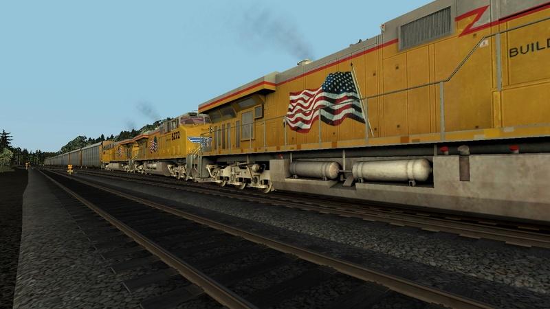 Donner Pass com 3 c44 Union Pacific + 60 box sem helper para subir a serra Scree114