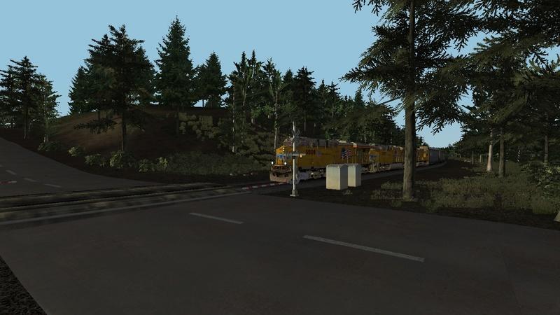 Donner Pass com 3 c44 Union Pacific + 60 box sem helper para subir a serra Scree117