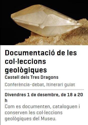 Propera conferència divendres dia 1 de desembre: Documentació de les col·leccions geològiques. 215