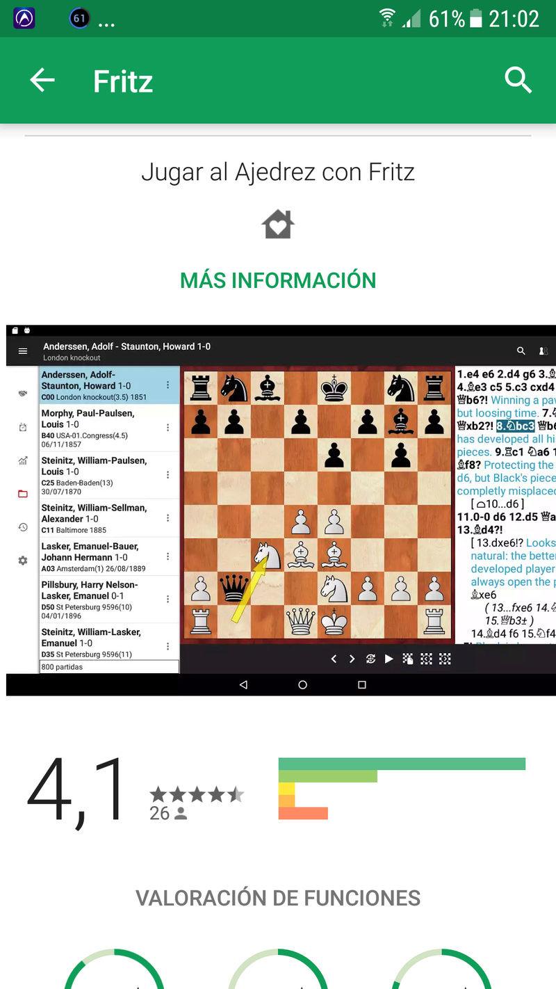 ¡¡¡ Fritz en Android, por fin !!! Una de las apps de ajedrez más esperadas. Screen20