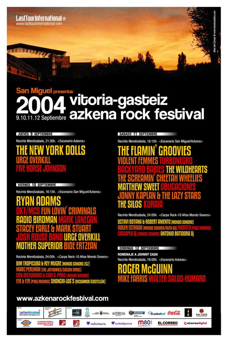 Agenda de giras, conciertos y festivales 200410