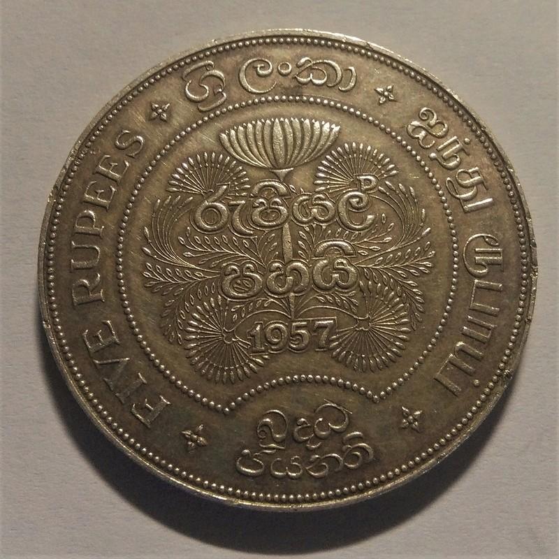 5 Rupias de Ceilán / Sri Lanka, 1957 - 2500 años de Budismo Img_2266